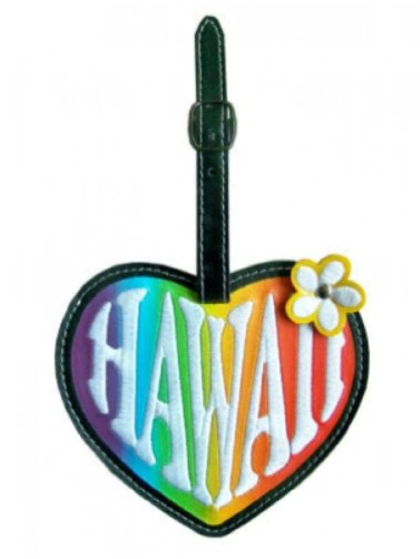 KC Hawaii Luggage Tag Vinyl Heart Black, Orange, Yellow