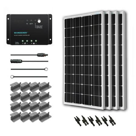 Renogy 400W 12V Solar Panel Monocrystalline Off Grid Starter Kit with 30A Wanderer Charger Controller