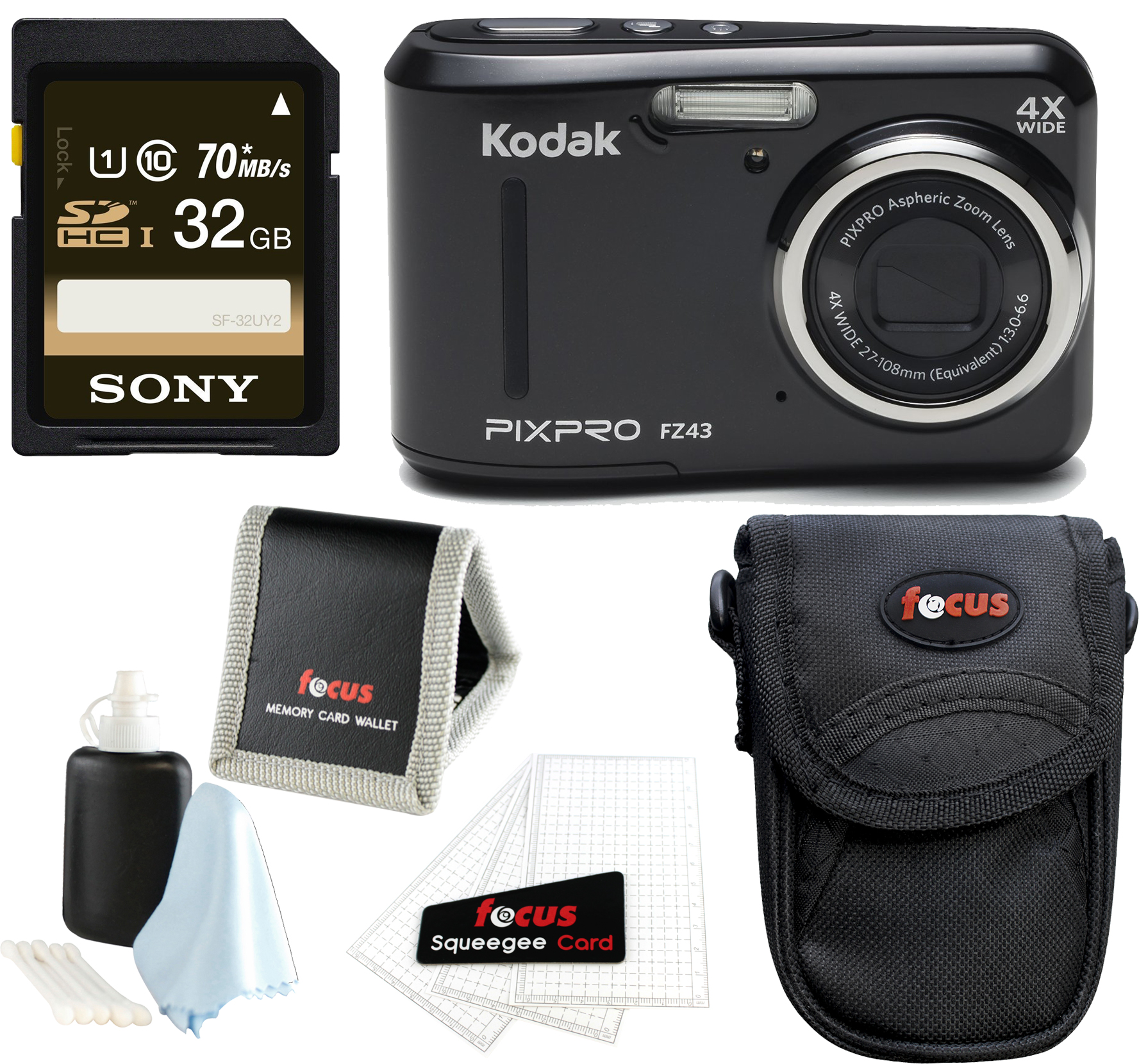 Kodak PIXPRO Friendly Zoom FZ43 (Black) w/ SanDisk Ultra 32GB SD Card & Case Bundle