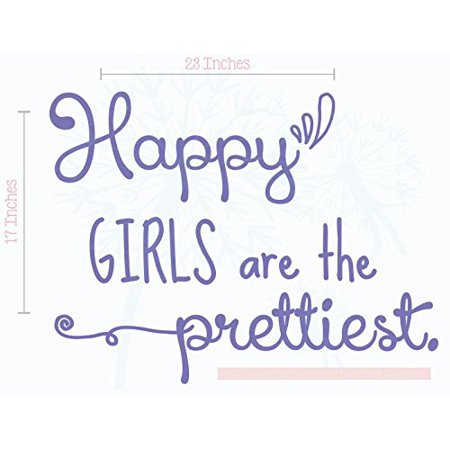 Happy Prettiest Wall Art Vinyl Decals Girls Room Decor Quotes, 23x17-Inch Purple