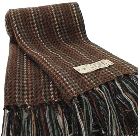 Mens Wool Scarf, Handwoven in Ireland, Traditional Fishermans Scarf, Brown (Celtic Scarf)