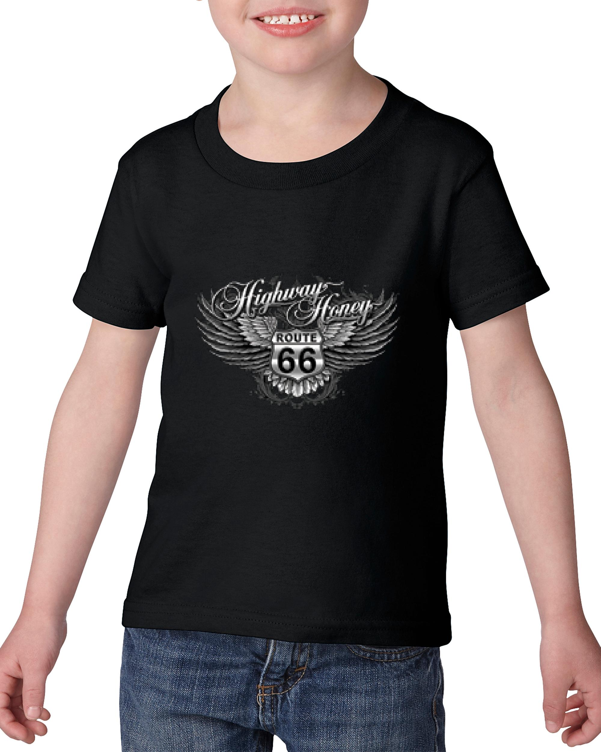 Artix Route 66 Shield With Wings Birthday Xmas Gift Match W Flags Maps Jeans Hats Bags Heavy Cotton Toddler Kids T-Shirt Tee Clothing