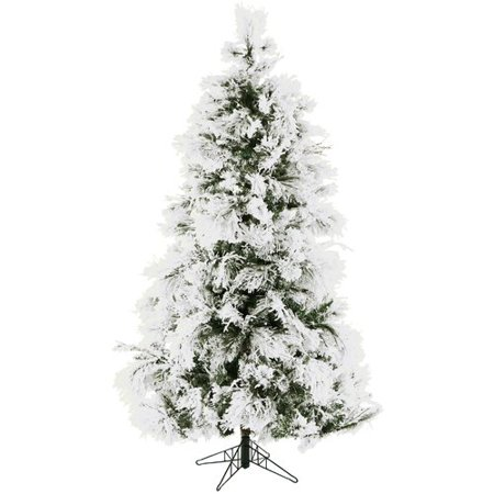 Fraser Hill Farm Pre-Lit 7.5' Snowy Pine Flocked Artificial Christmas Tree  with Clear - Fraser Hill Farm Pre-Lit 7.5' Snowy Pine Flocked Artificial