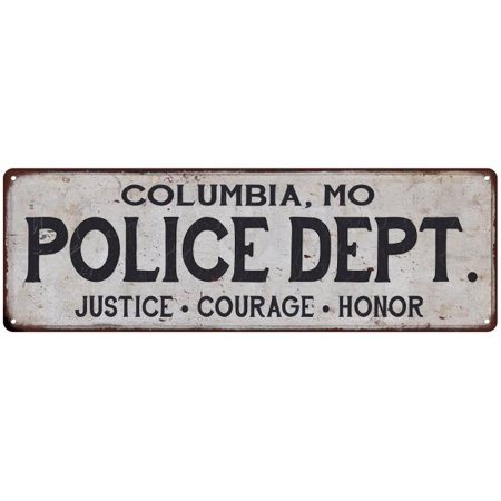 COLUMBIA, MO POLICE DEPT. Home Decor Metal Sign Gift 6x18 - Party Stores Columbia Mo