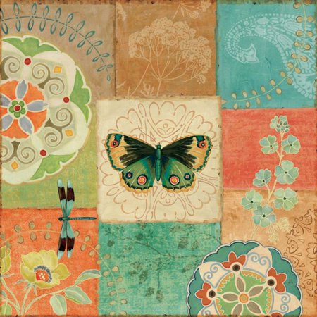 Folk Floral III Center Butterfly Stretched Canvas - Daphne Brissonnet (24 x 24)