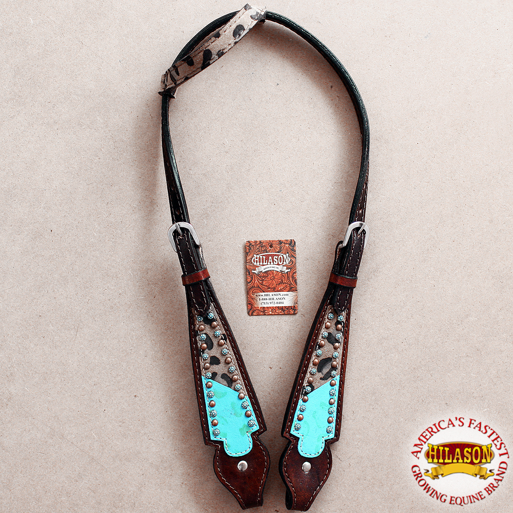 HILASON WESTERN AMERICAN LEATHER HORSE HEADSTALL TURQUOISE FRINGES CHEETAPRINT