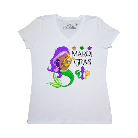 Mardi Gras mermaid with harp and beads Women's V-Neck T-Shirt (Mardi Gras Fashions For This Year)
