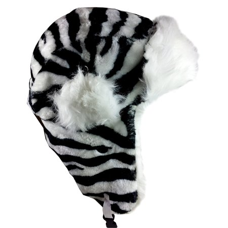 030531a8758 Dakota Dan Trooper Ear Flap Cap w  Faux Fur Lining Hat (Black White) -  Walmart.com