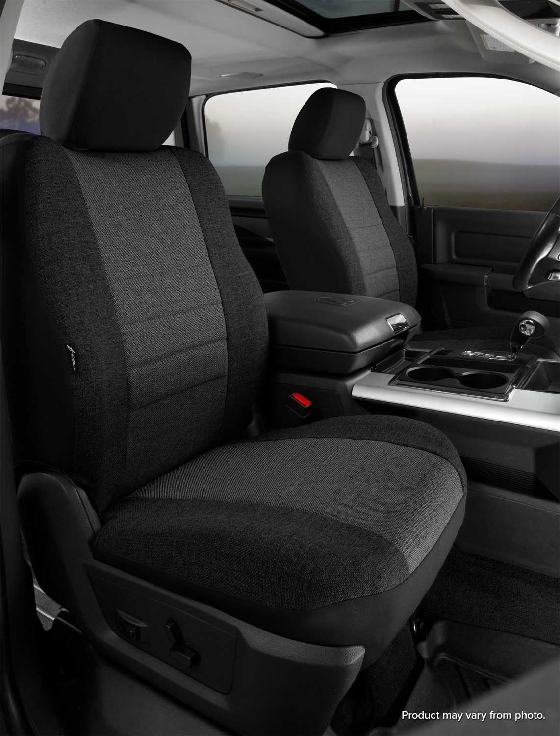 Fia OE39-2 CHARC  Custom Fit Front Seat Cover Bench Seat Charcoal Tweed,