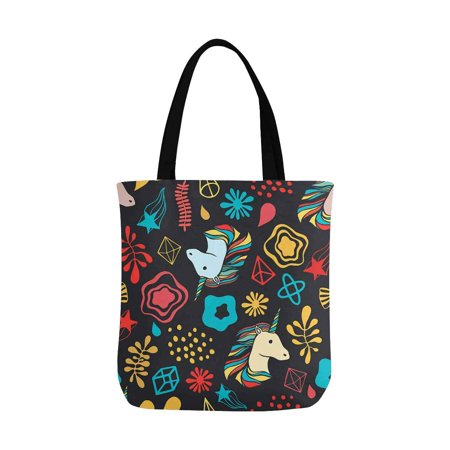 HATIART Unicorns, Pattern Reusable Grocery Bags Shopping Bag Canvas Tote Bag Shoulder Bag - image 2 of 3