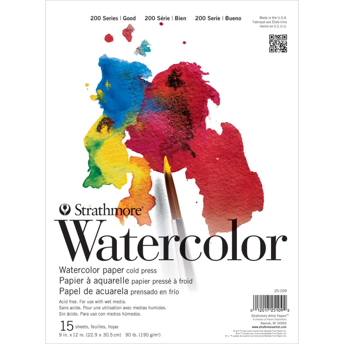 "Strathmore Watercolor Paper Pad 11'x15""-90lb Student Grade 15 Sheets"
