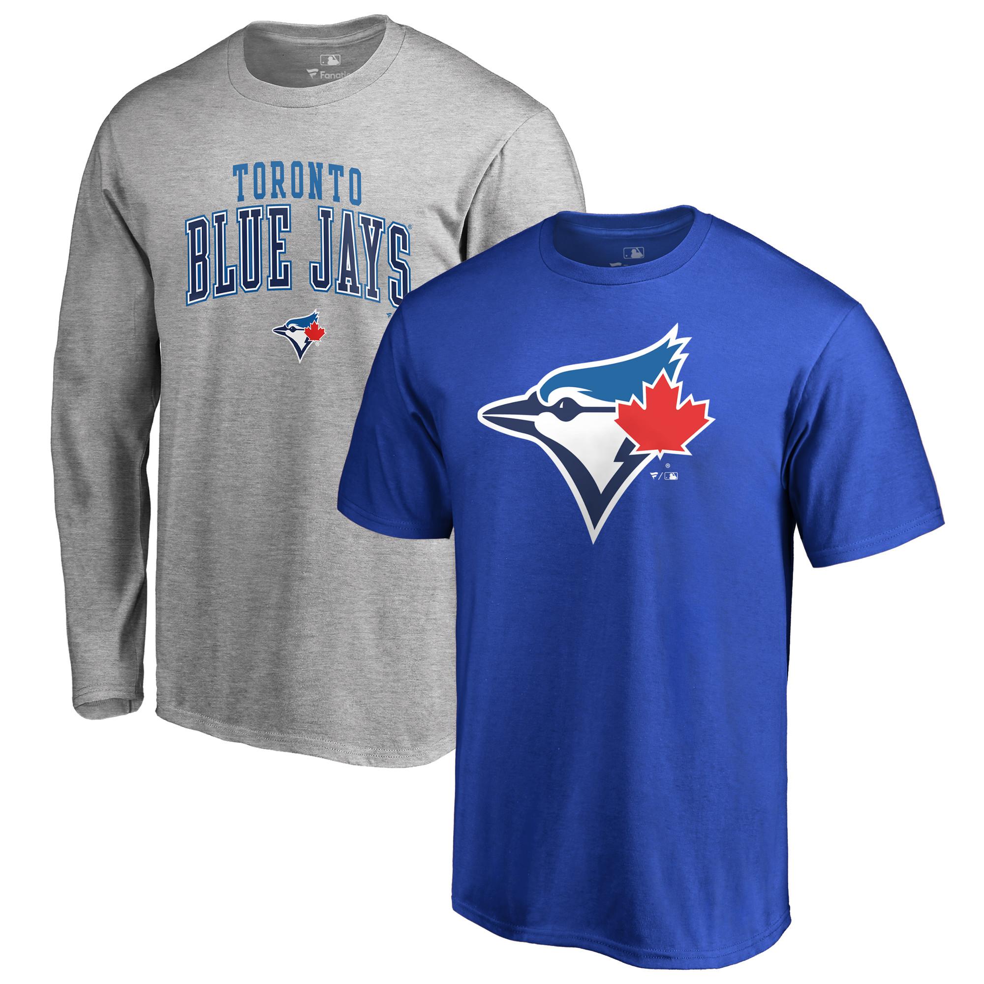 Toronto Blue Jays Fanatics Branded Big & Tall Long Sleeve & Short Sleeve T-Shirt Combo - Royal/Gray