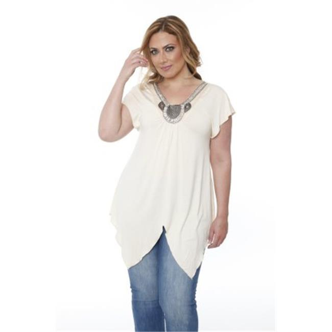 PS1288-01-2XL Plus Size Grace Embellished Top-Tunic, Beige - 2 Extra Large - image 1 of 1