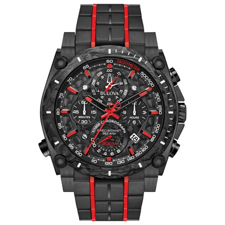 Bulova Men's Precisionist Chronograph Black with Red Accents IP Stainless Steel Watch 98B313