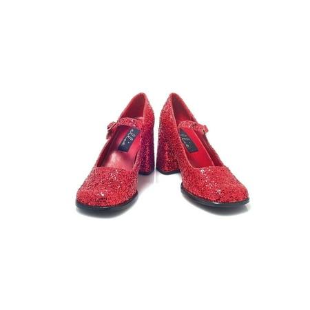 Ellie Shoes E-300-Eden-G 3 Heel Mary Jane Glitter Shoes Red Glitter / - Red Glitter Mary Jane