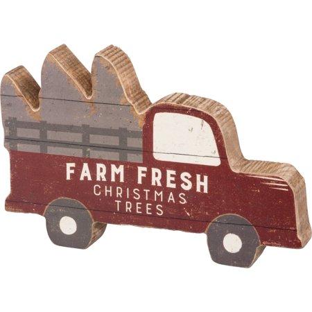Farm Fresh Christmas Trees Red Pickup Truck Chunky Shelf Sitter Wood