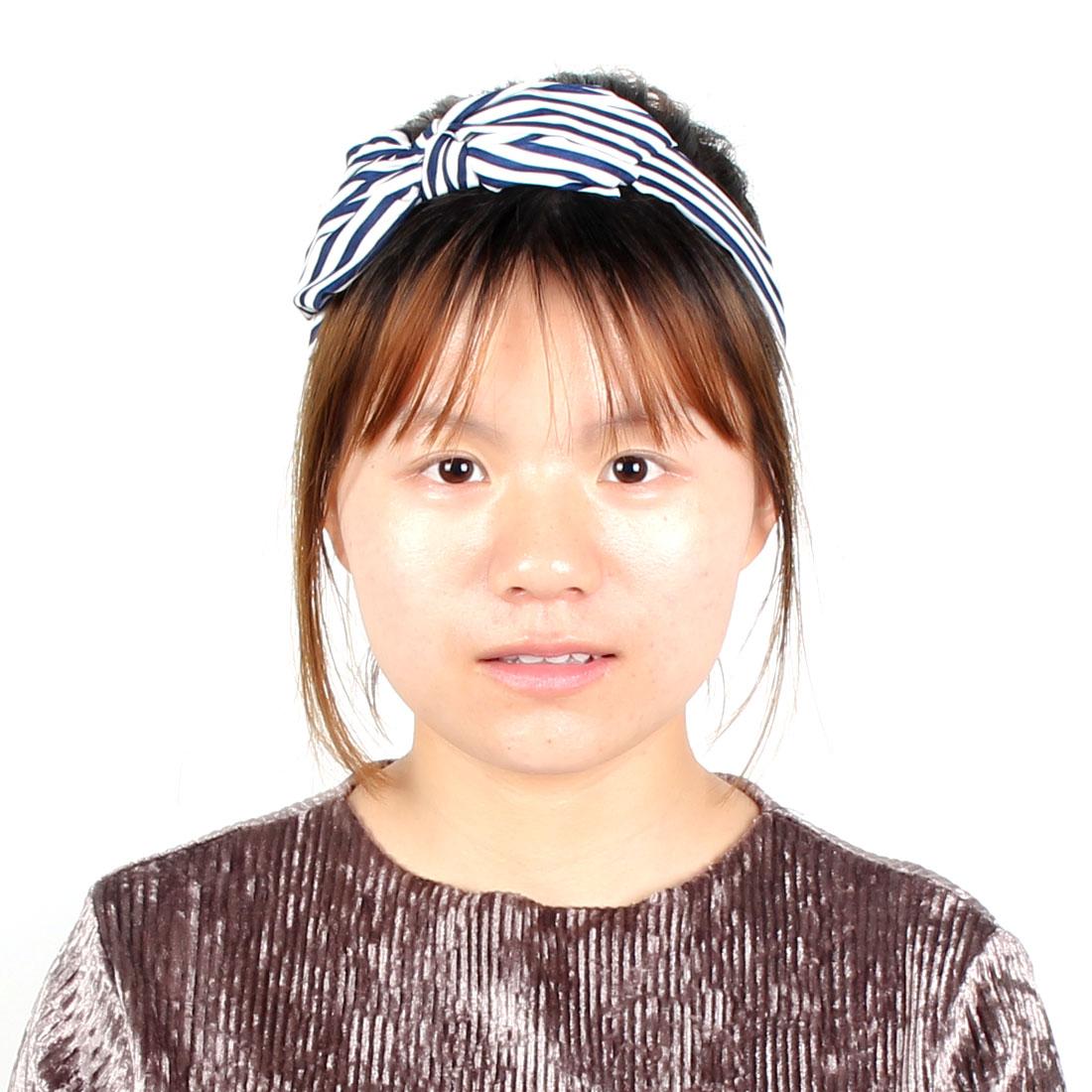 Women Lady Plastic Ribbon Bowknot Shape Stripe Decor Headwear Hairhoop Headband