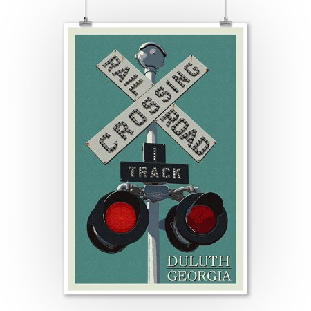Duluth  Georgia   Railroad Crossing   Letterpress   Lantern Press Artwork  9X12 Art Print  Wall Decor Travel Poster