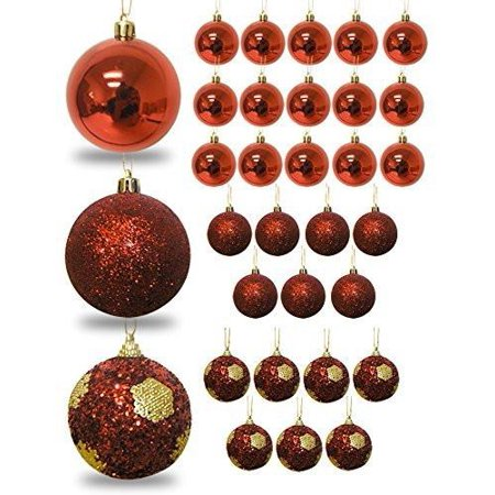 Red Ball Ornaments - Set of 32 Christmas Bulb Ornaments - Red Shiny - Red Glitter - Shatterproof Ornaments - Red Christmas