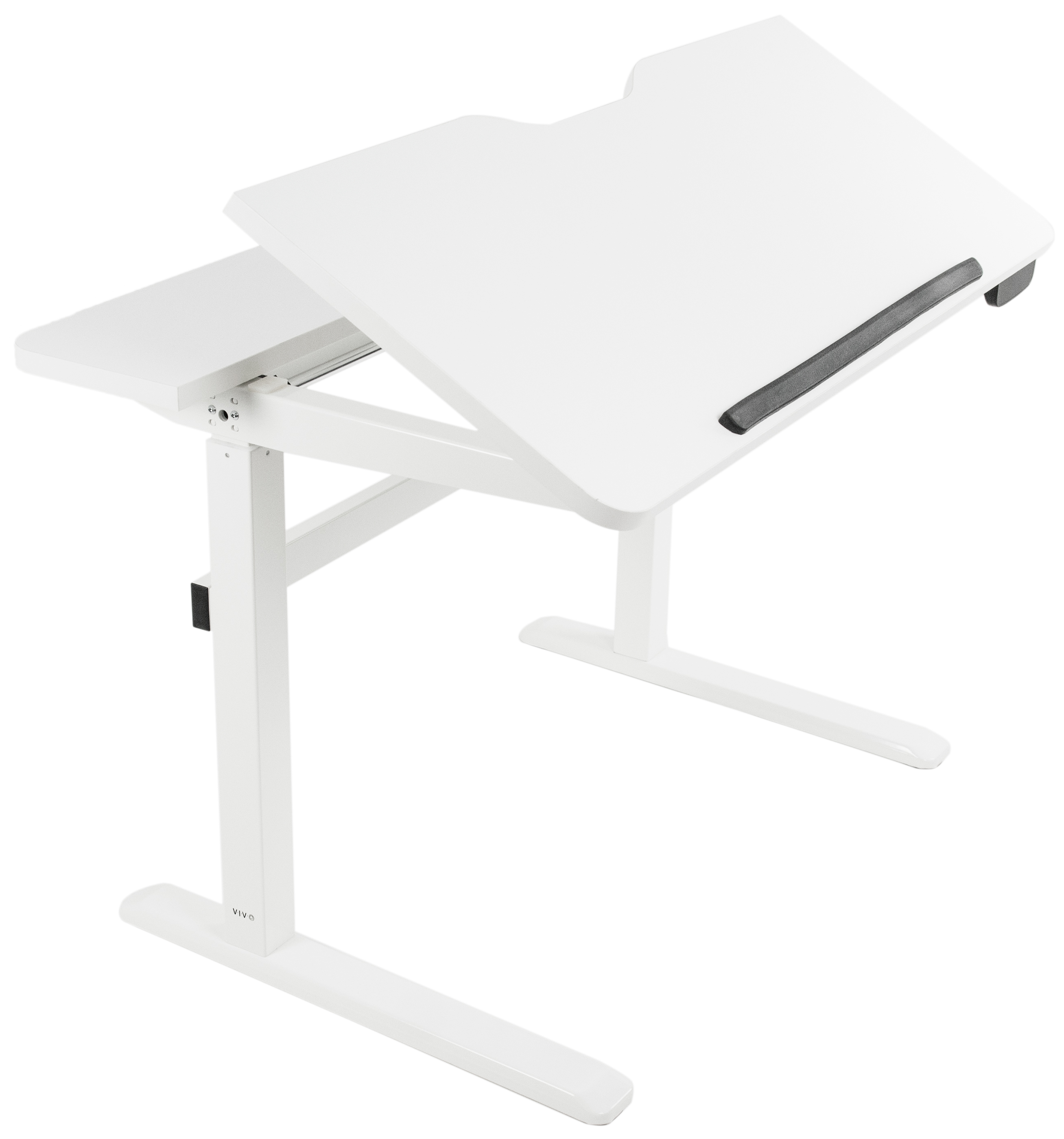 "VIVO White Height Adjustable Electric Motor Sit Stand 48"" x 29"" Drafting Desk | 30 Degree Tilting Desktop (DESK-V101ED)"