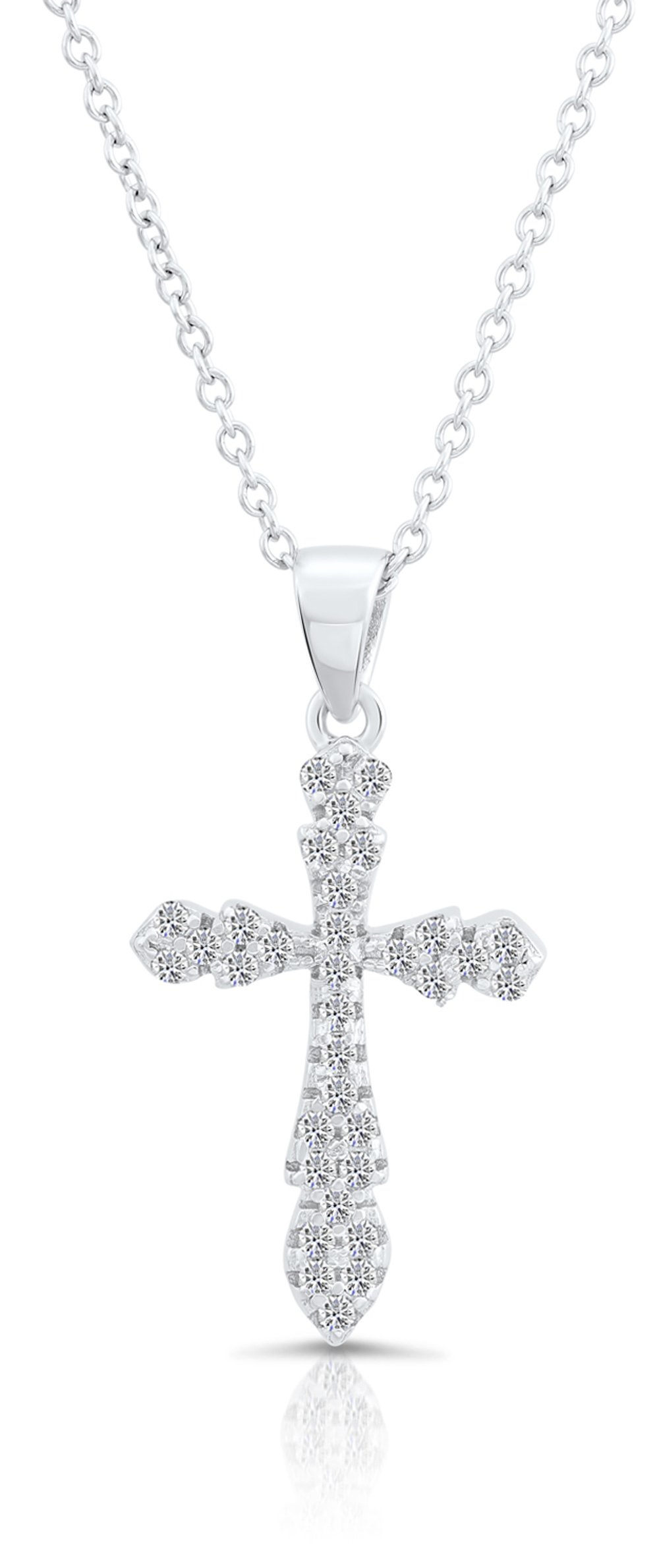 Gold Plated Sterling Silver Cubic Zirconia CZ Curved Cross Charm Pendant Necklace
