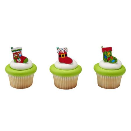 24 Festive Stockings Christmas Holiday Cupcake rings (Holiday Cupcake Ideas)