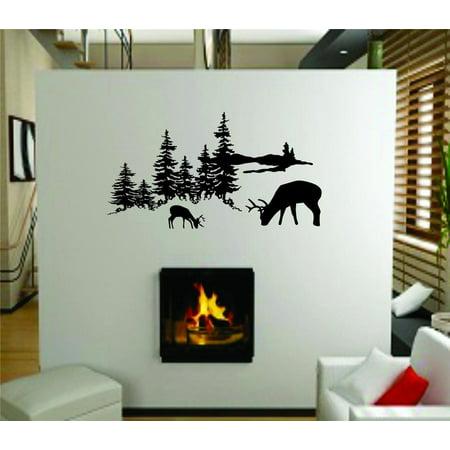 Custom Wall Decal : Wooded Area Wildlife Scene Deer Elk Moose Wall Sticker : 8 X16