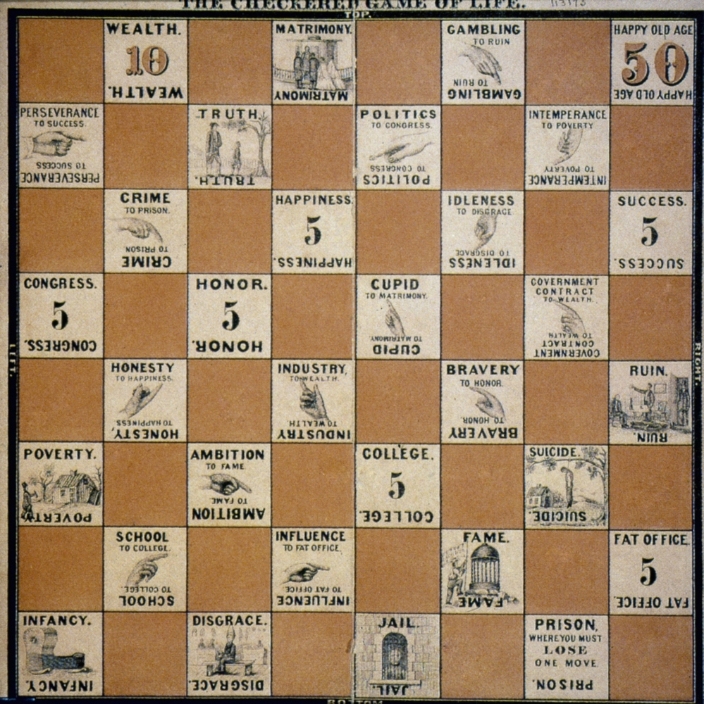 Checkered Game Of Life Nan American Board Game By Milton Bradley 1863 Rolled Canvas Art (24 x 36) by Granger Collection