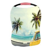 ECZJNT Vintage Car On The Beach Surfboard Nursing Cover Baby Breastfeeding Infant Feeding Cover Baby Car Seat Cover
