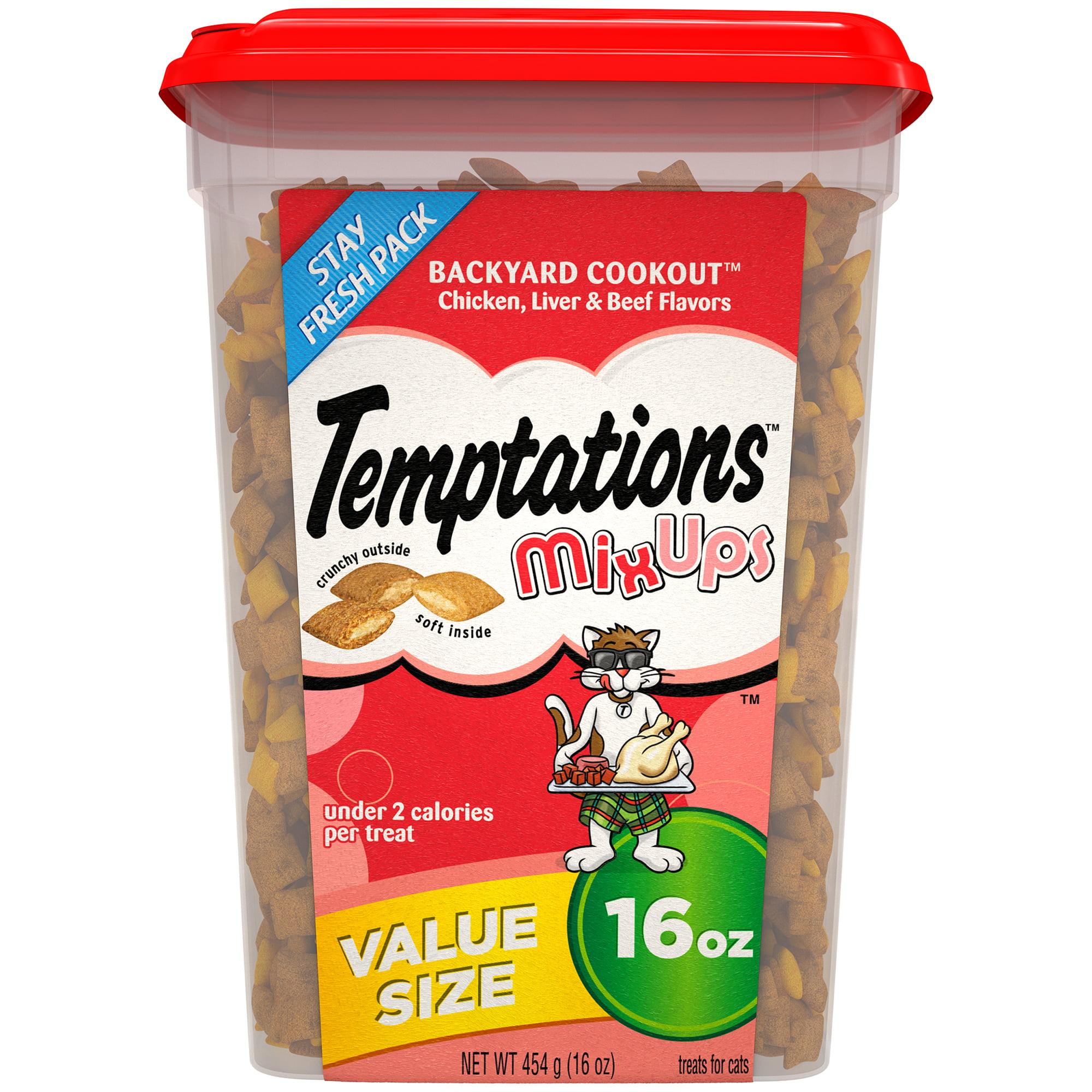 TEMPTATIONS MixUps Treats for Cats BACKYARD COOKOUT Flavor, 16 oz. Tub