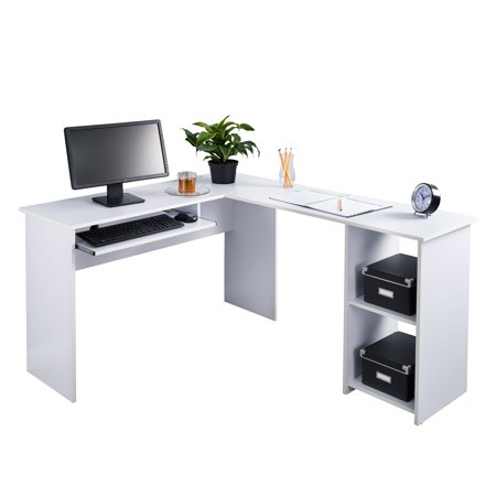 Fineboard L-Shaped Office Corner Desk 2 Side Shelves, White