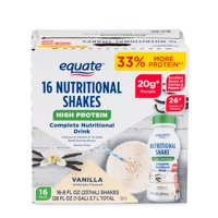 Equate High Protein Nutritional Drink, 20g Protein, Vanilla, 16Ct