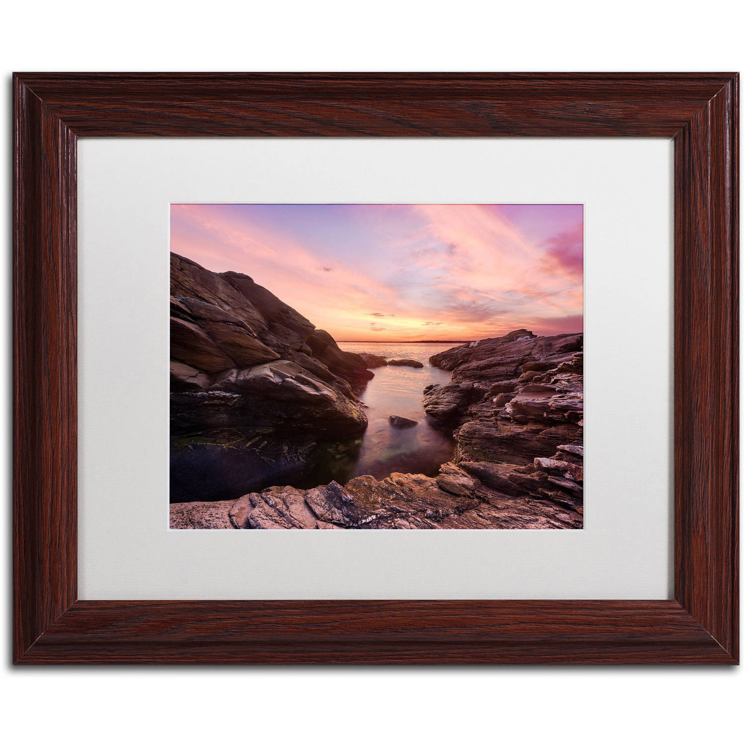 "Trademark Fine Art ""Sunset Sweep"" Canvas Art by Michael Blanchette Photography White Matte, Wood Frame"