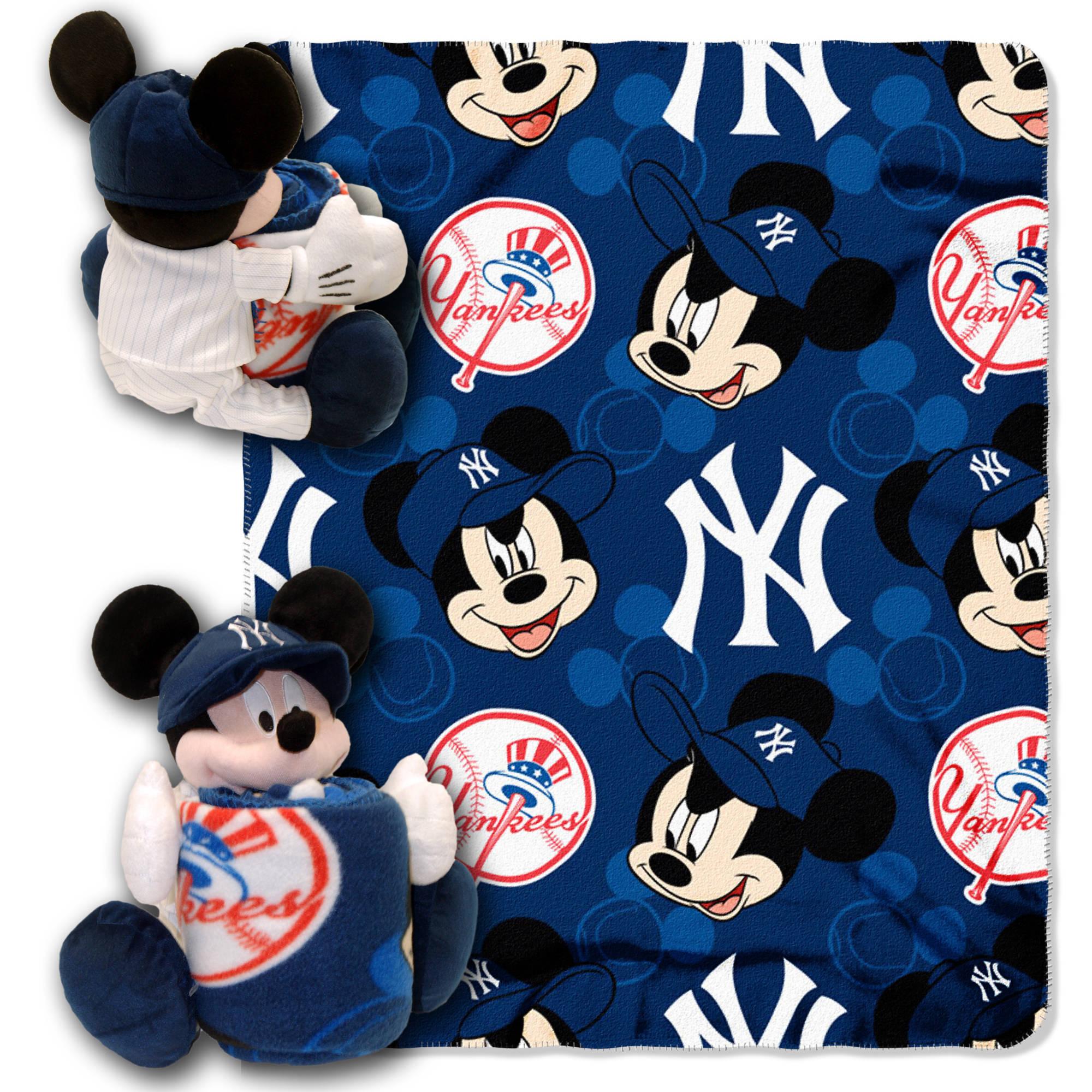 "Disney MLB New York Yankees Pitch Crazy Hugger Pillow and 40"" x 50"" Throw Set"