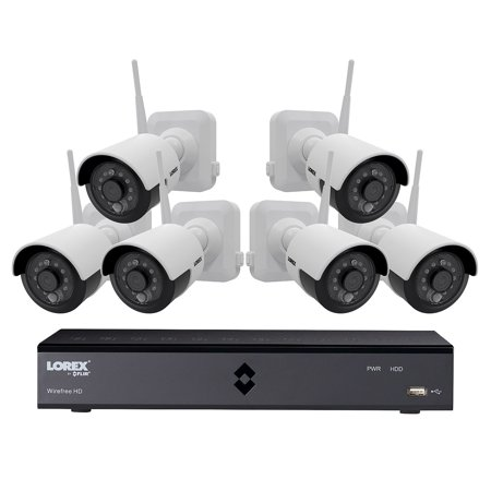Lorex 6-Channel Wire-Free Security System with 6x 1080p High Definition Rechargeable Cameras with Bonus Extra Rechargeab