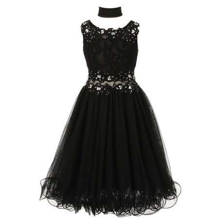 Girls Black Lace Mesh Rhinestone Wired Flower Girl Dress 8-20](Black Girl Dresses)