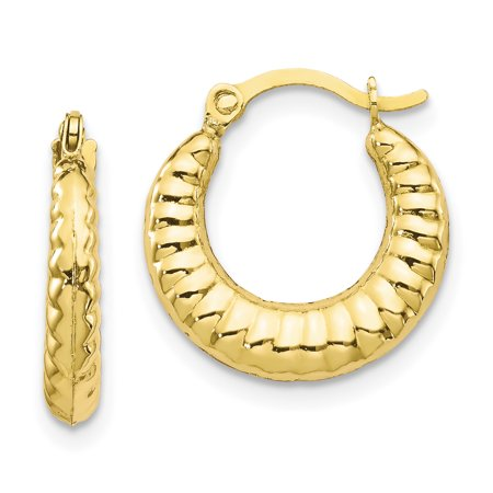 10K Scalloped Hollow Hoop Earrings