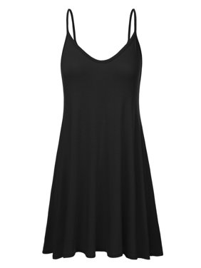 51b635a0c05 Product Image Doublju Women s Casual Spaghetti Loose Swing Slip Dress BLACK  L