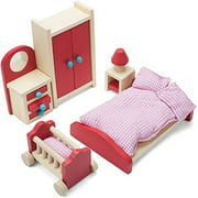 "Imagination Generation Cozy Family Bedroom Colorful Wooden Dollhouse Furniture Set for 2-4"" Dolls"