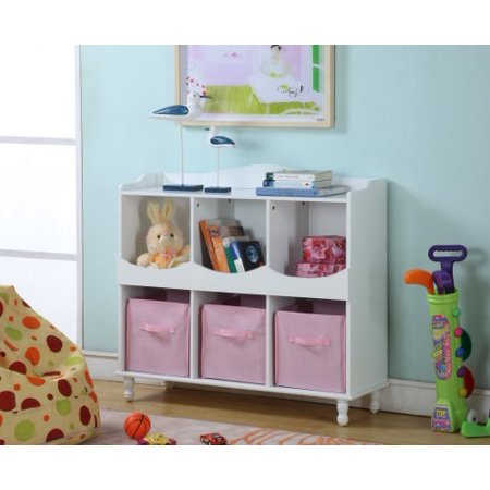 King's Brand R1014 Wood 6 Cubby Storage Cabinet with 3 Pink Fabric Bins, White