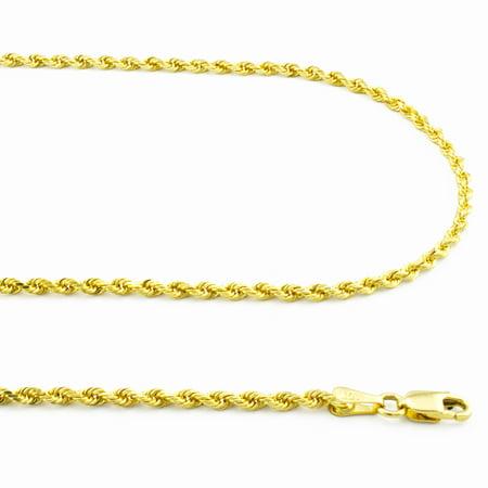 10k Yellow Gold Womens 2mm Dainty Rope Diamond Cut Pendant Chain Necklace 16