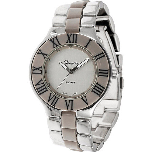Geneva Platinum Women's Roman Numeral Link Watch, Stainless Steel Band