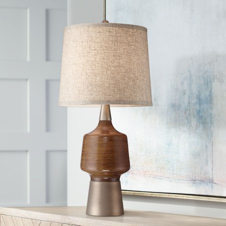 360 Lighting Mid Century Modern Table Lamp Warm Wood Bronze Brass