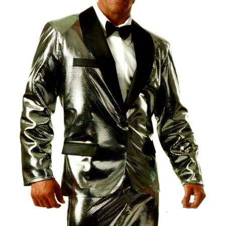 Adult's Mens Shiny Silver Rich Man Tux Tuxedo Holographic Jacket Costume](Rich Mahogany Halloween)