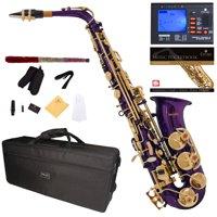 Mendini by Cecilio Eb Alto Sax w/Tuner, Case, Mouthpiece, 10 Reeds, Pocketbook and 1 Year Warranty, MAS-PL Purple Lacquer E Flat Saxophone
