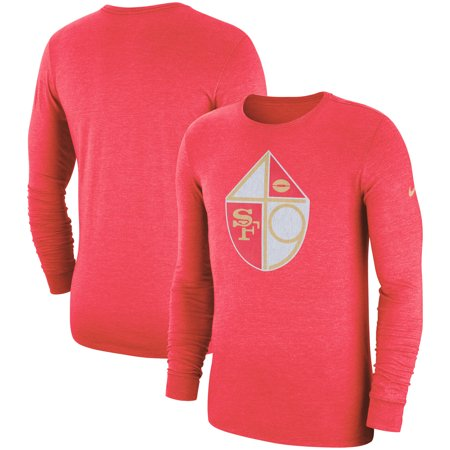 - San Francisco 49ers Nike Fan Gear Crackle Historic Tri-Blend Long Sleeve T-Shirt - Scarlet