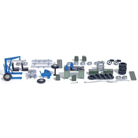 Detail Set Ho Scale (Walthers SceneMaster HO Scale Scenery Accessory Garage Detail Set (45-Piece)