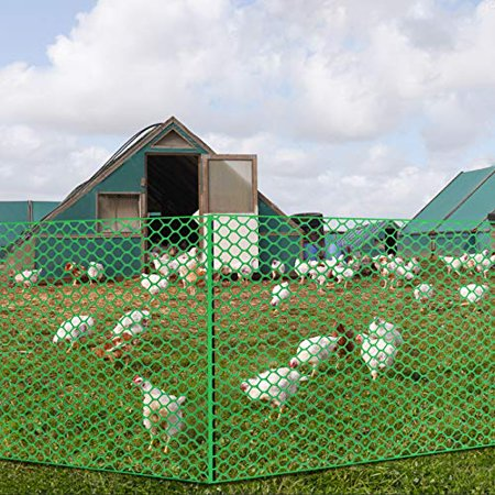 V Protek Plastic Poultry Fence- 5x15ft High Strength Poultry Netting,Chicken/Racoons/Gophor/Snakes Net Fence ,2/5
