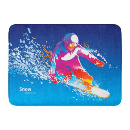 GODPOK Sport Snowboard The Colorful Figure of Young Man Snowboarding on Blue Sky Ski Snow Rug Doormat Bath Mat 23.6x15.7 inch Snow Blue Rug