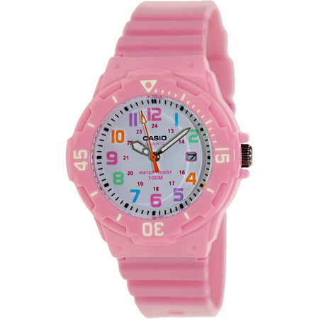 Women's Dive Style Watch with Pink Glossy Resin Strap